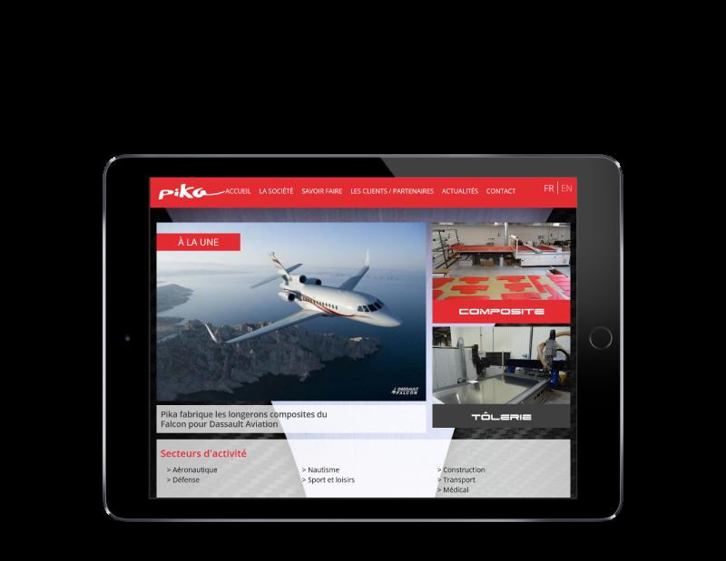 Pika composites Bayonne confie la création de son site à l'agence web REZO 21 d'Anglet, site web sur tablette