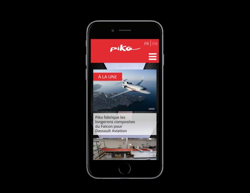 Pika composites Bayonne confie la création de son site à l'agence web REZO 21 d'Anglet, site web sur mobile