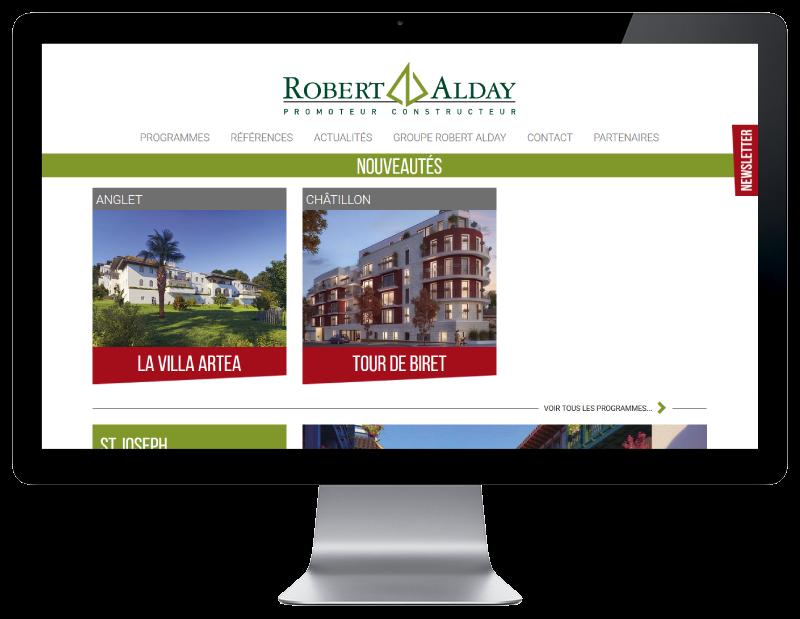 Le promoteur immobilier du Pays basque Robert Alday confie la refonte de son site à l'agence web REZO 21 d'Anglet sur grand écran