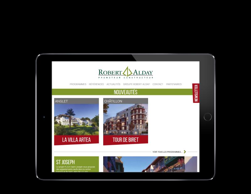 Le promoteur immobilier du Pays basque Robert Alday confie la refonte de son site à l'agence web REZO 21 d'Anglet sur tablette