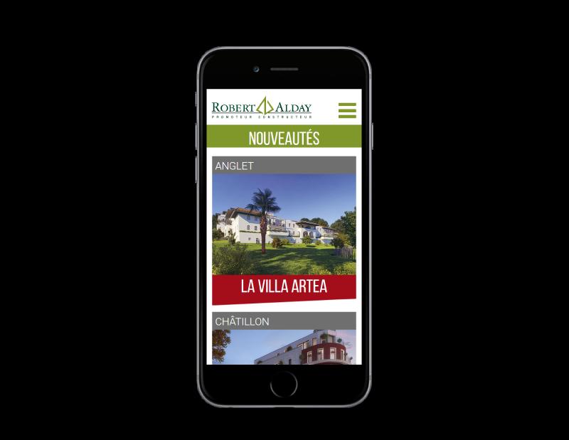 Le promoteur immobilier du Pays basque Robert Alday confie la refonte de son site à l'agence web REZO 21 d'Anglet sur mobile