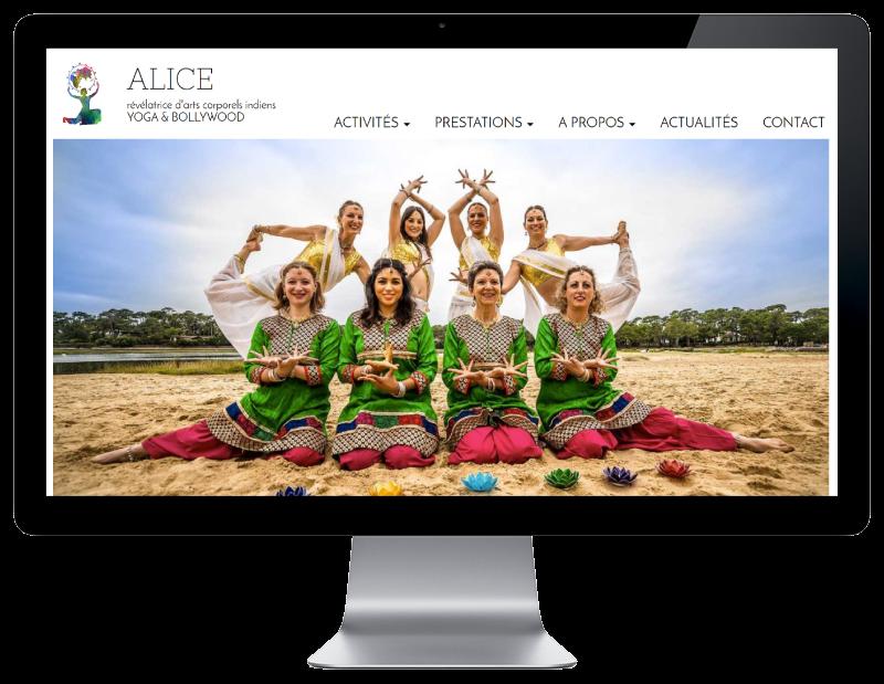 L'agence web REZO 21 Anglet réalise le site Internet de Yoga Bollywood Bayonne Pays Basque sur grand écran