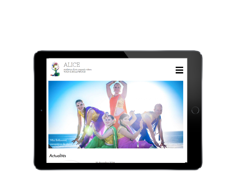 L'agence web REZO 21 Anglet réalise le site Internet de Yoga Bollywood Bayonne Pays Basque sur tablette