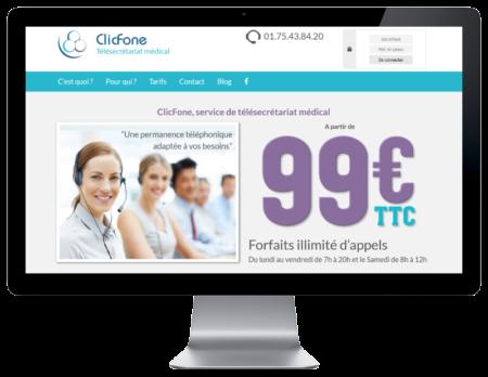 REZO 21, créateur de sites Internet à Anglet créé le site de Clicfone télésecrétariat médical sur grand écran