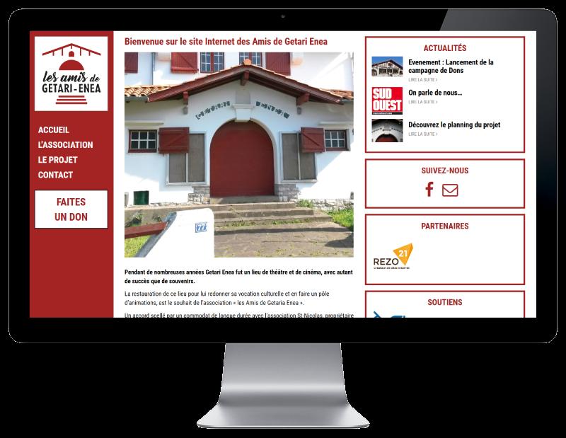 REZO 21, créateur de sites Internet à Anglet réalise le site de Getari-Enea sur grand écran