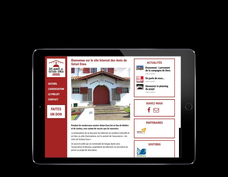 REZO 21, créateur de sites Internet à Anglet réalise le site de Getari-Enea sur tablette