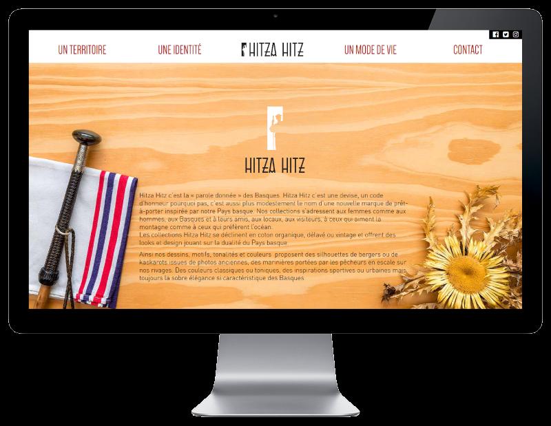 L'agence web REZO 21 Anglet choisit pour la création du site Internet de Hitza Hitz vêtements basques à st jean de luz, vue sur grand écran