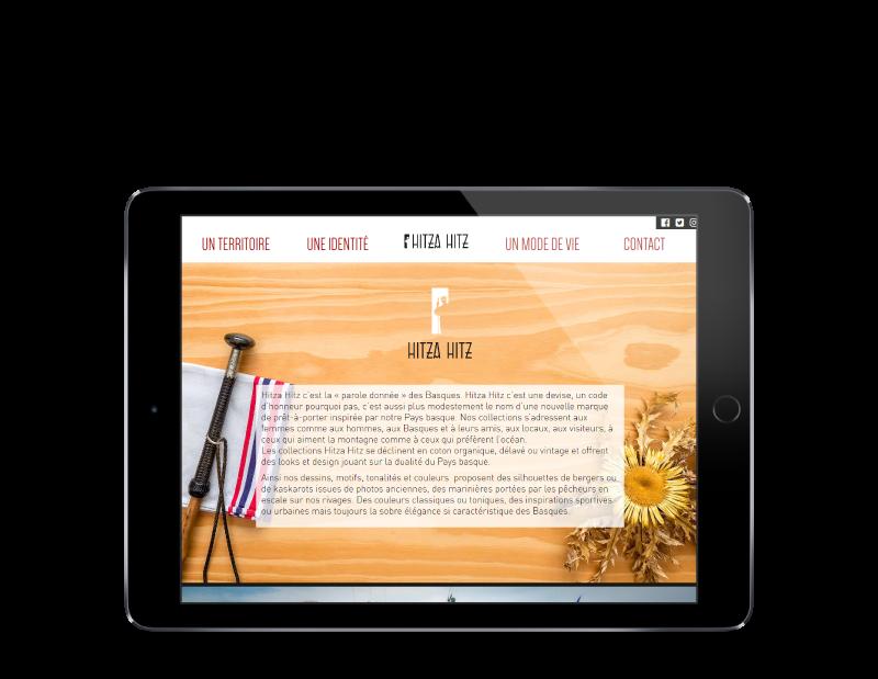 L'agence web REZO 21 Anglet choisit pour la création du site Internet de Hitza Hitz vêtements basques à st jean de luz, vue sur ipad