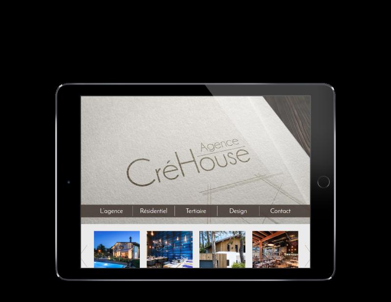 L'agence web REZO 21 créé le nouveau site Internet de CréHouse architecture à Bayonne sur tablette