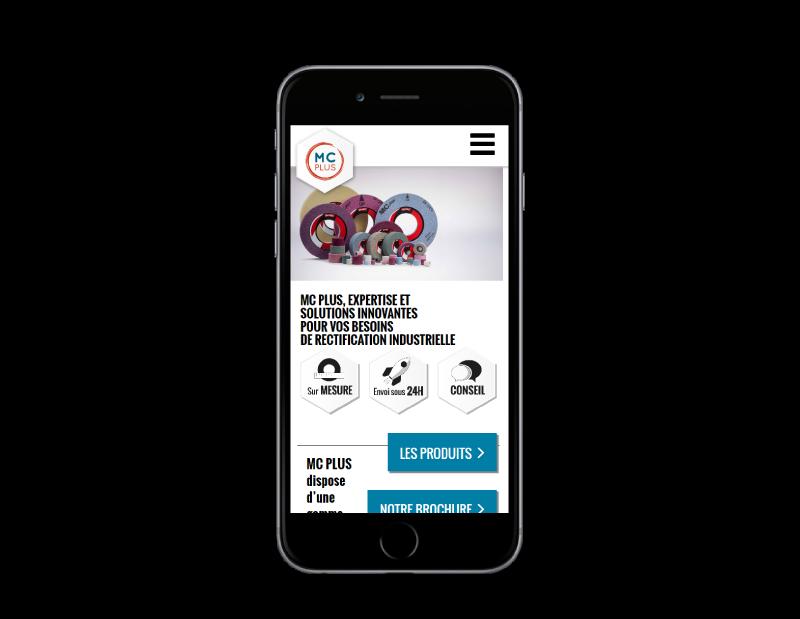MC PLUS, solutions industrielles de rectification confie son site Internet à l'agence web REZO 21 Anglet vue sur mobile