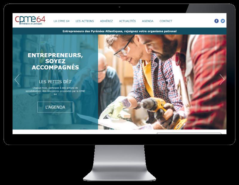 REZO 21 agence web pays basque réalise le site de la CPME Pyrénées Atlantiques vue sur grand écran