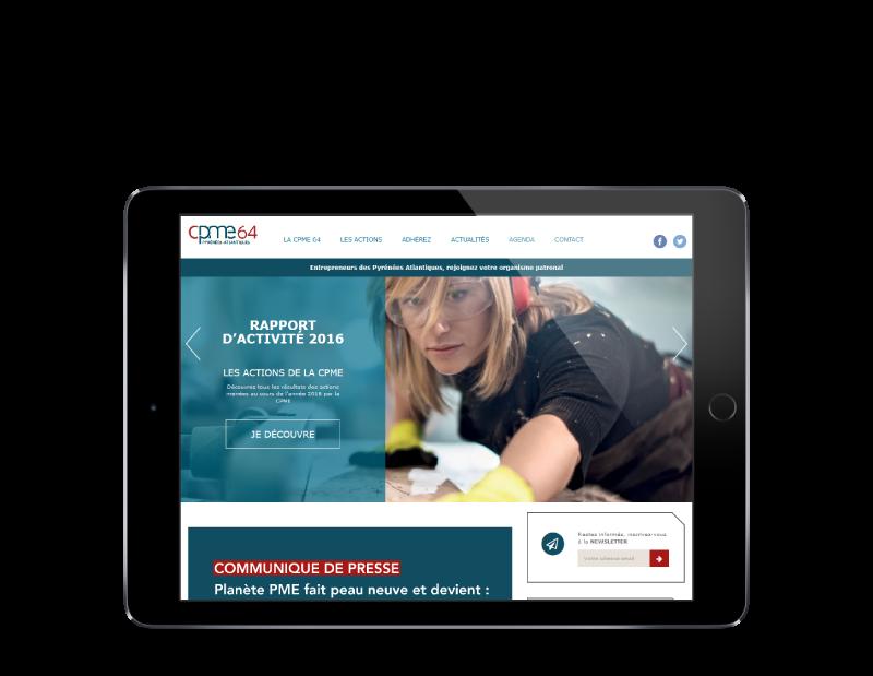 REZO 21 agence web pays basque réalise le site de la CPME Pyrénées Atlantiques vue sur tablette