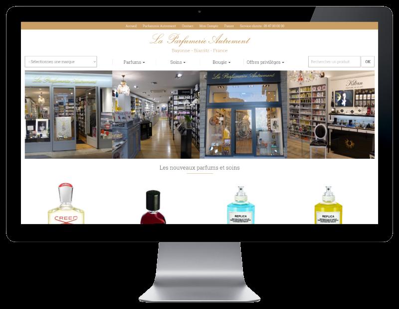 L'agence web REZO 21 anglet Pays basque réalise la creation du site Internet Parfumerie Autrement Bayonne Biarritz - vue sur grand ecran