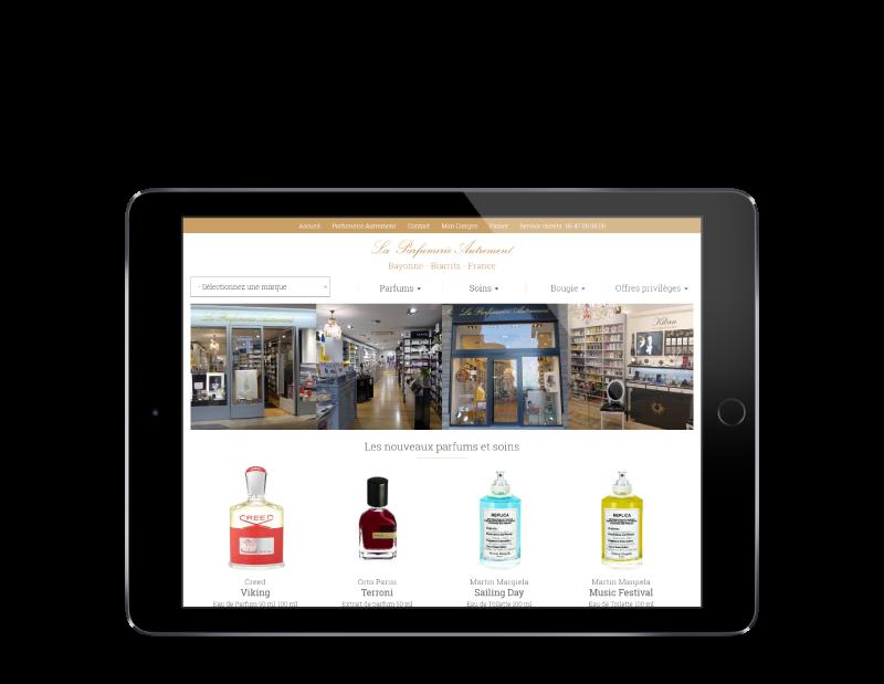 L'agence web REZO 21 anglet Pays basque réalise la creation du site Internet Parfumerie Autrement Bayonne Biarritz - vue sur tablette