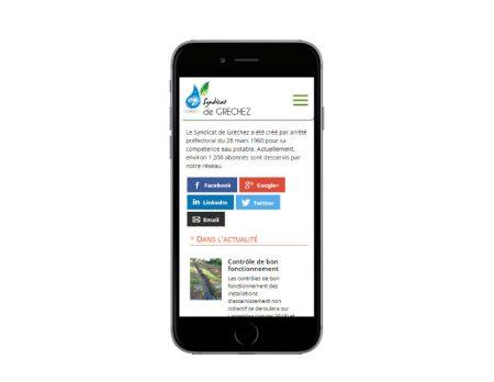 Agence web rezo 21 développe le site Internet responsive du syndicat de gréchez sur mobile