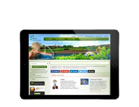Agence web rezo 21 développe le site Internet responsive du syndicat de gréchez sur tablette