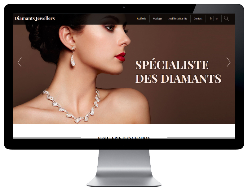 Diamants Jewellers, une création de sites Internet de l'agence web REZO 21 Pays Basque