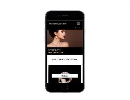 Diamants Jewellers, une création de sites Internet de l'agence web REZO 21 Pays Basque vue sur mobile