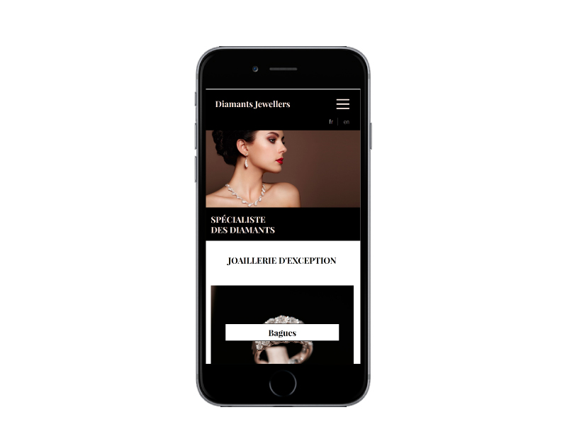 Diamants Jewellers, une création de sites Internet de l'agence web REZO 21 Pays Basque vue sur mobile