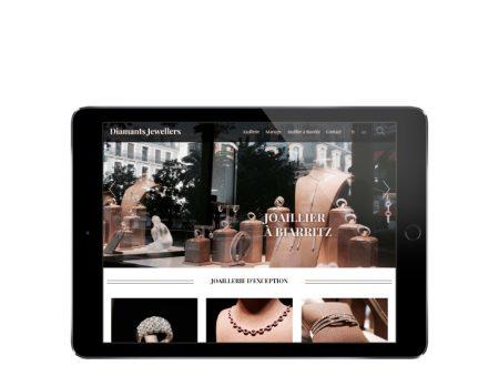 Diamants Jewellers, une création de sites Internet de l'agence web REZO 21 Pays Basque vue sur tablette
