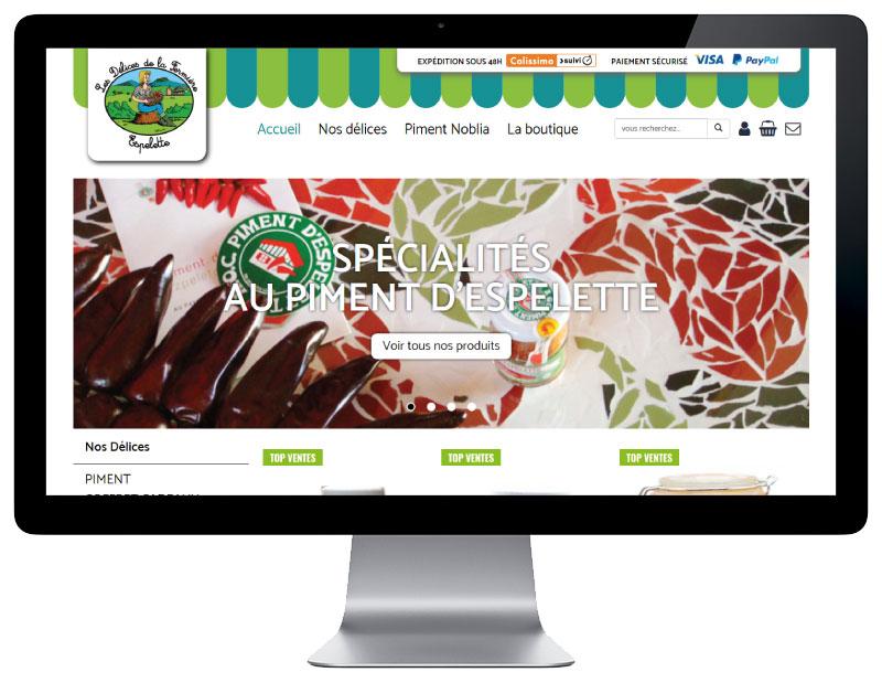 Les délices de la femrière nouvea e-commerce Pays Basque créé par l'agence web REZO 21 Anglet vue sur grand écran