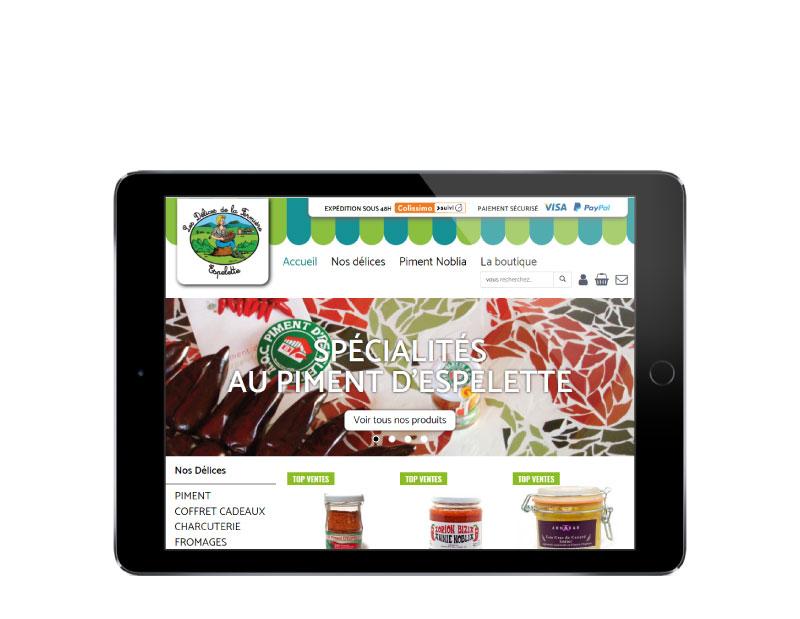 Les délices de la femrière nouvea e-commerce Pays Basque créé par l'agence web REZO 21 Anglet vue sur tablette