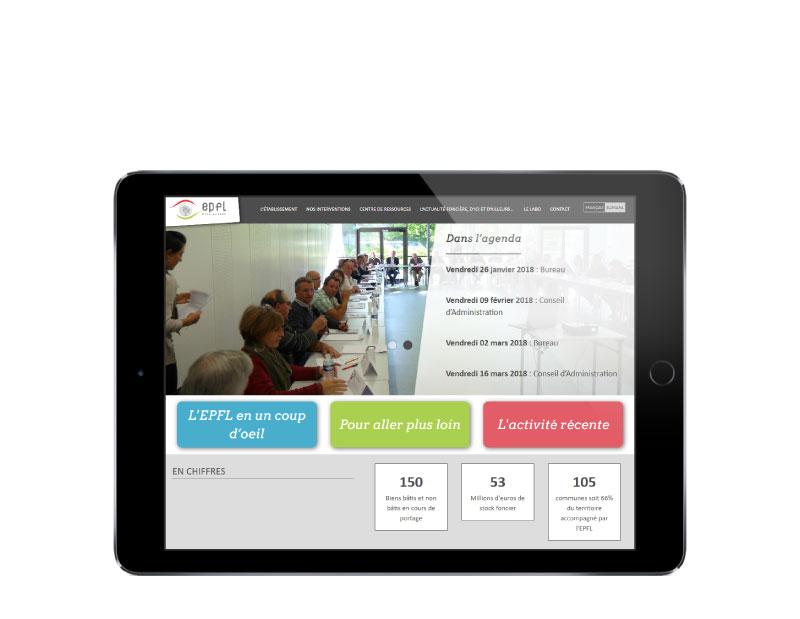 EPFL Pays Basque réalise son nouveau site Internet avec l'agence web REZO 2 Anglet vue sur tablette