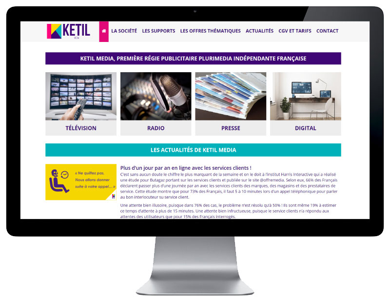 Rezo 21 agence web bayonne développe le site internet de la régie publicitaire ketil média sur grand écran