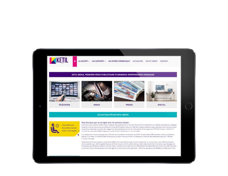Rezo 21 agence web bayonne développe le site internet de la régie publicitaire ketil média sur tablette
