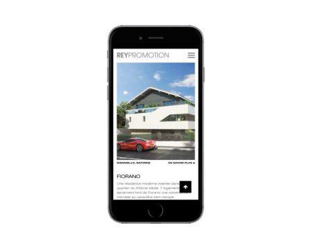 Le promoteur REY IMMOBILIER confie la refonte de son site Internet à l'agence web REZO 21 Pays Basque vue sur mobile