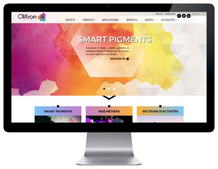 REZO 21 agence web au pays basque développe le nouveau site internet responsive multilingue OliKrom sur grand écran