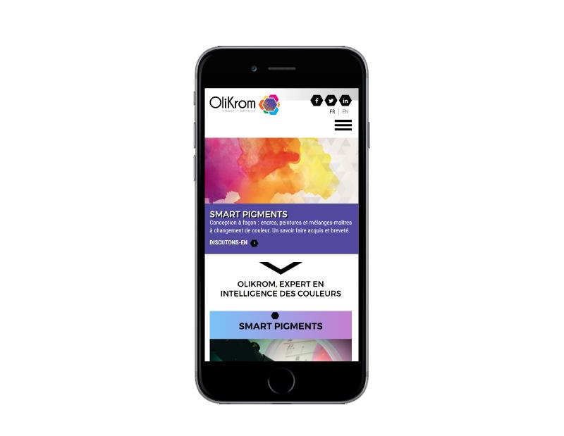REZO 21 agence web au pays basque développe le nouveau site internet responsive multilingue OliKrom sur mobile
