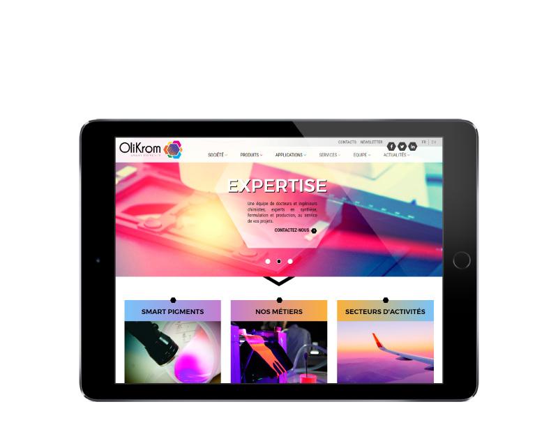 REZO 21 agence web au pays basque développe le nouveau site internet responsive multilingue OliKrom sur tablette