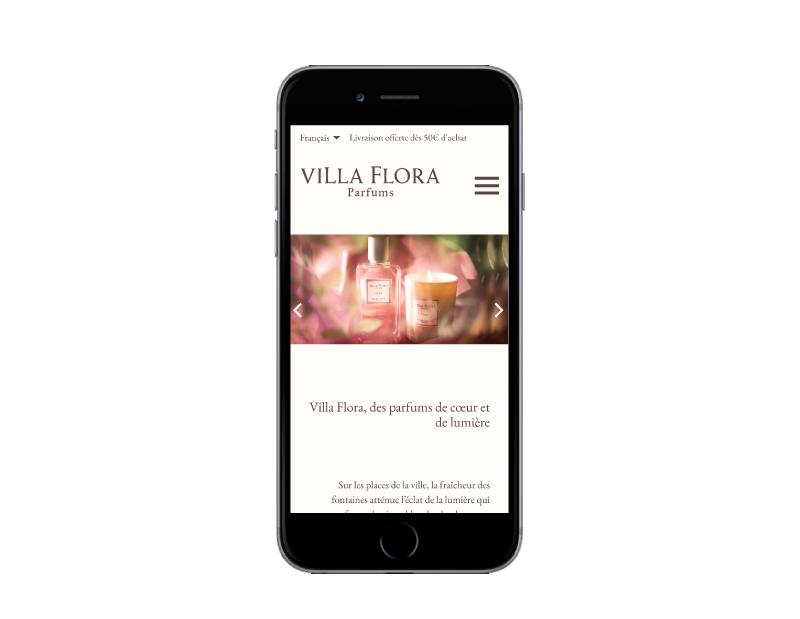 L'agence web REZO 21 Pays basque réalise la boutique en ligne de Villa Flora Parfums sur mobile