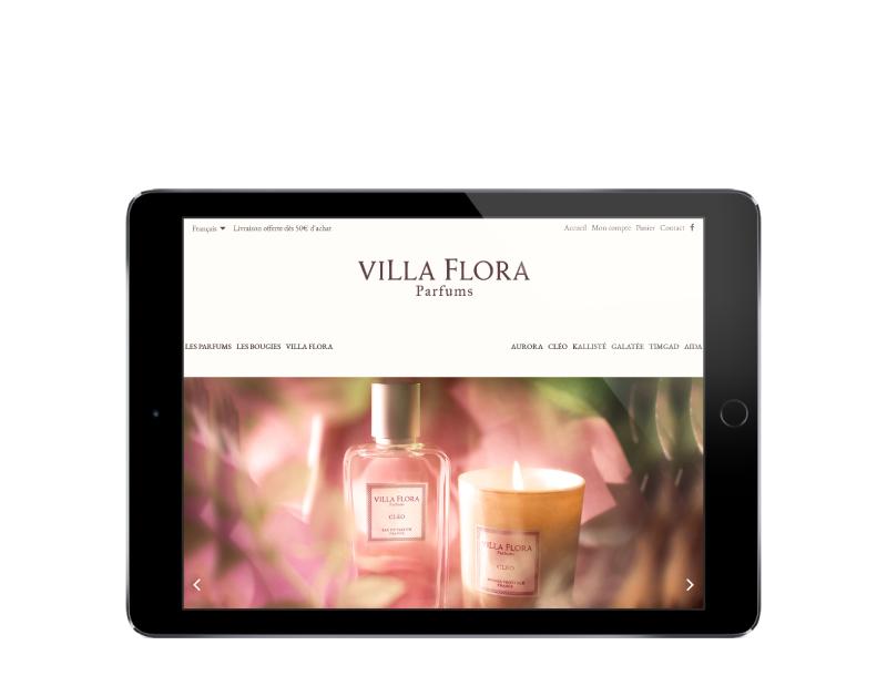L'agence web REZO 21 Pays basque réalise la boutique en ligne de Villa Flora Parfums sur tablette