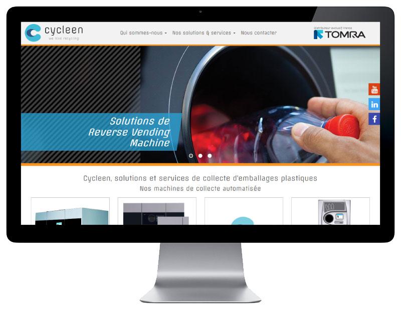 Agence web REZO 21 Anglet Pays Basque réalise la création du site Internet de Cycleen sur grand écran