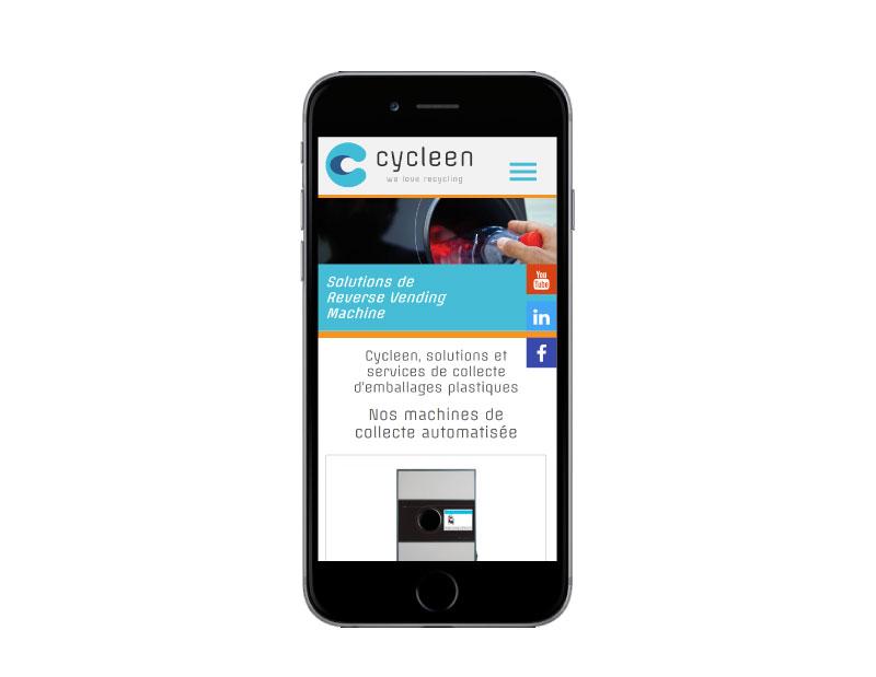 Agence web REZO 21 Anglet Pays Basque réalise la création du site Internet de Cycleen sur mobile