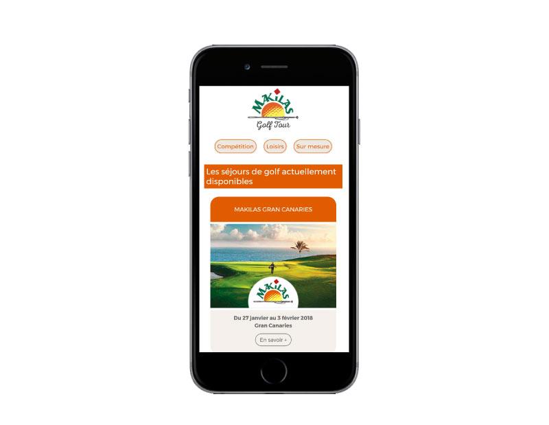 Makilas Golf Tour, une création de l'agence web REZO 21 Anglet sur mobile