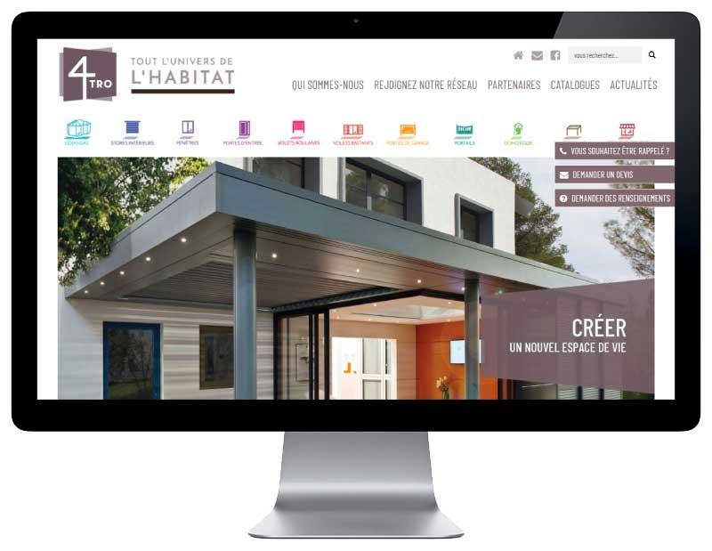 Site Internet responsive pour professionnels du batiment et de l'habitat, vue sur grand écran