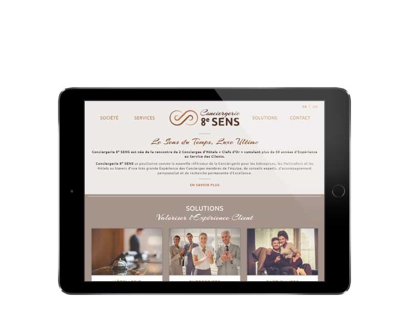 Site internet responsive mobile pour service de conciergerie sur tablette
