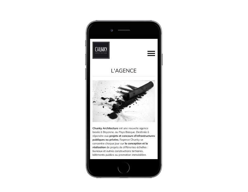 Site internet responsive mobile pour architecte bayonne sur mobile