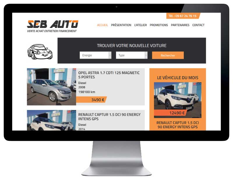 Site Internet pour garage automobile et vente de voitures d'occasion responsive desktop