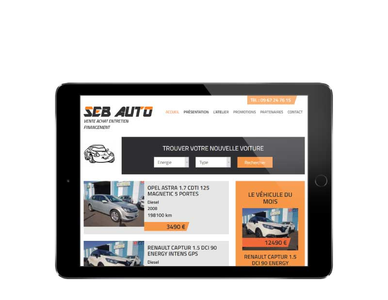 Site Internet pour garage automobile et vente de voitures d'occasion responsive tablette