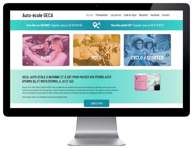 Site web pour auto-école au pays basque responsive desktop