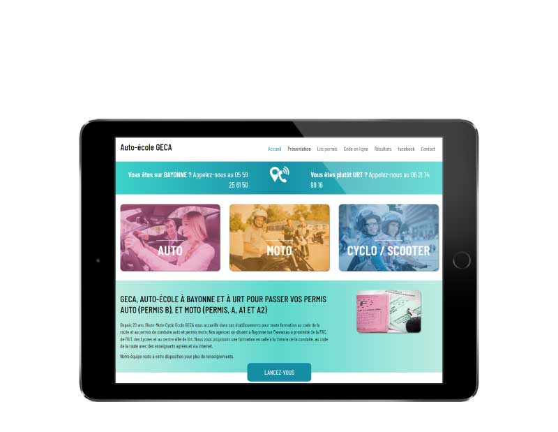 Site web pour auto-école au pays basque responsive tablette