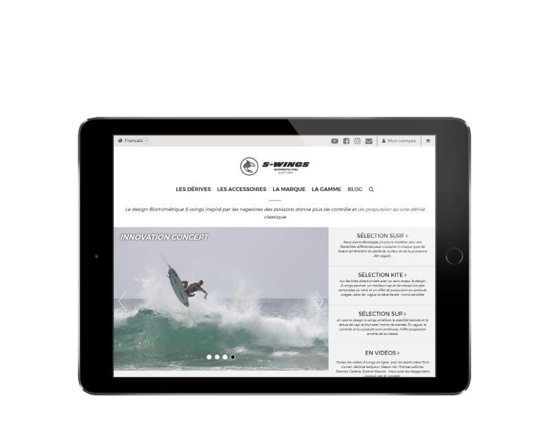 E-commerce accessoires de surf responsive tablette