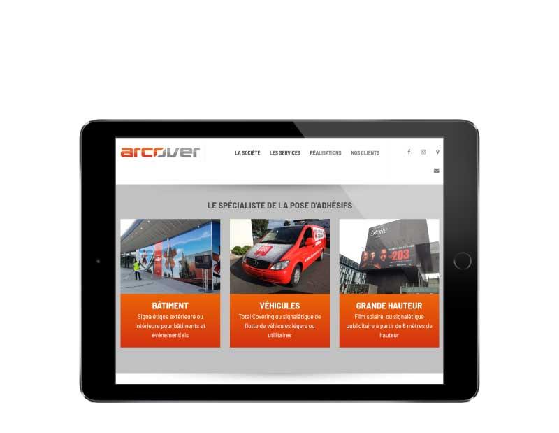 Site internet société de service en pose de signalétique adhésive responsive tablette
