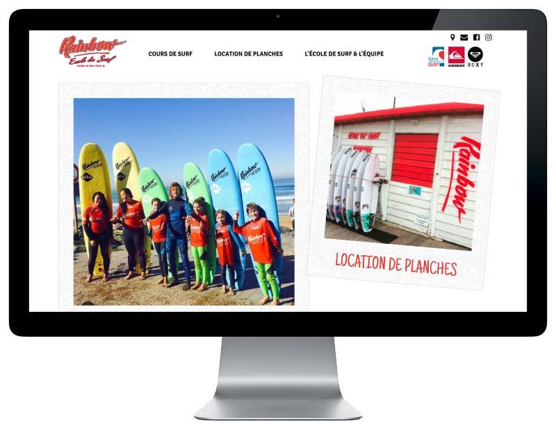 Site internet ecole de surf anglet resposnsie design