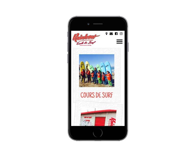 Site internet ecole de surf anglet resposnsie mobile
