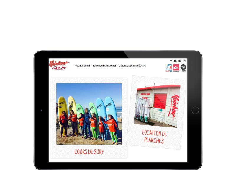 Site internet ecole de surf anglet resposnsie tablette